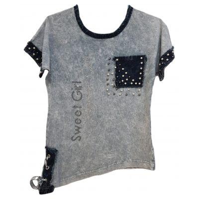 Tricou pentru fete, model trei sferturi, culoarea gri prespalat, cu buzunar lateral si perle