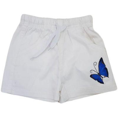 Pantaloni scurti pentru fete, model pe elastic in talie,  albi cu fluturas albastru