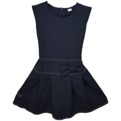 Sarafan culoare bleumarin, din stofa, model cu talie joasa in clini,cu fermoar si cordon la spate