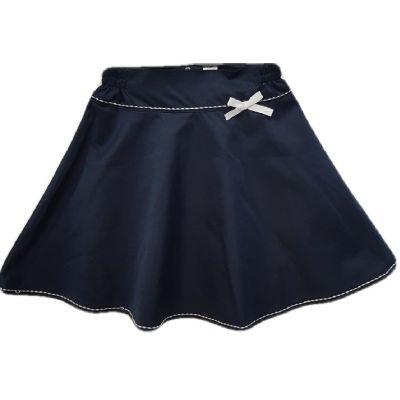 Fusta clos,culoare  bleumarin, cu fermoar la spate si cusaturi albe de contrast